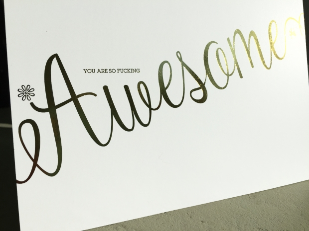 The small type on this card is 7pt. ITC Lubalin Graph - looks great in foil