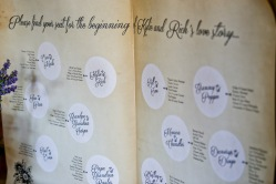 """The seating chart was a giant storybook. I printed the """"pages"""" on wrapping paper from StationeryHQ.com"""