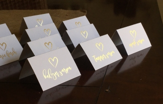 Variable data place cards with gold foil